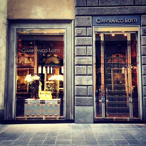 Luxury stores along the Via de Tornabuoni.