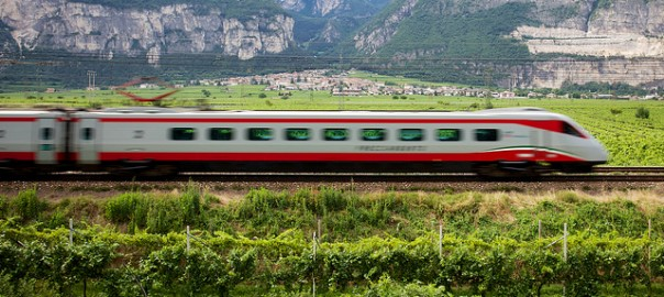 Moving Train, High Speed from Rome to Florence