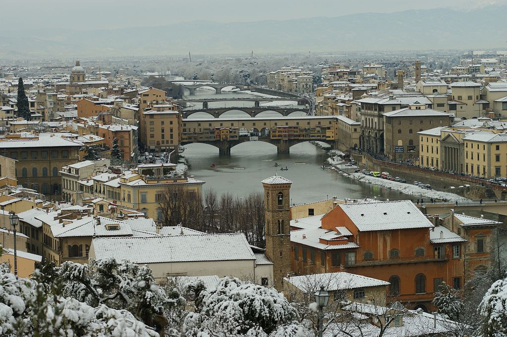 Ponte Vecchio, Florence, Tuscany in winter