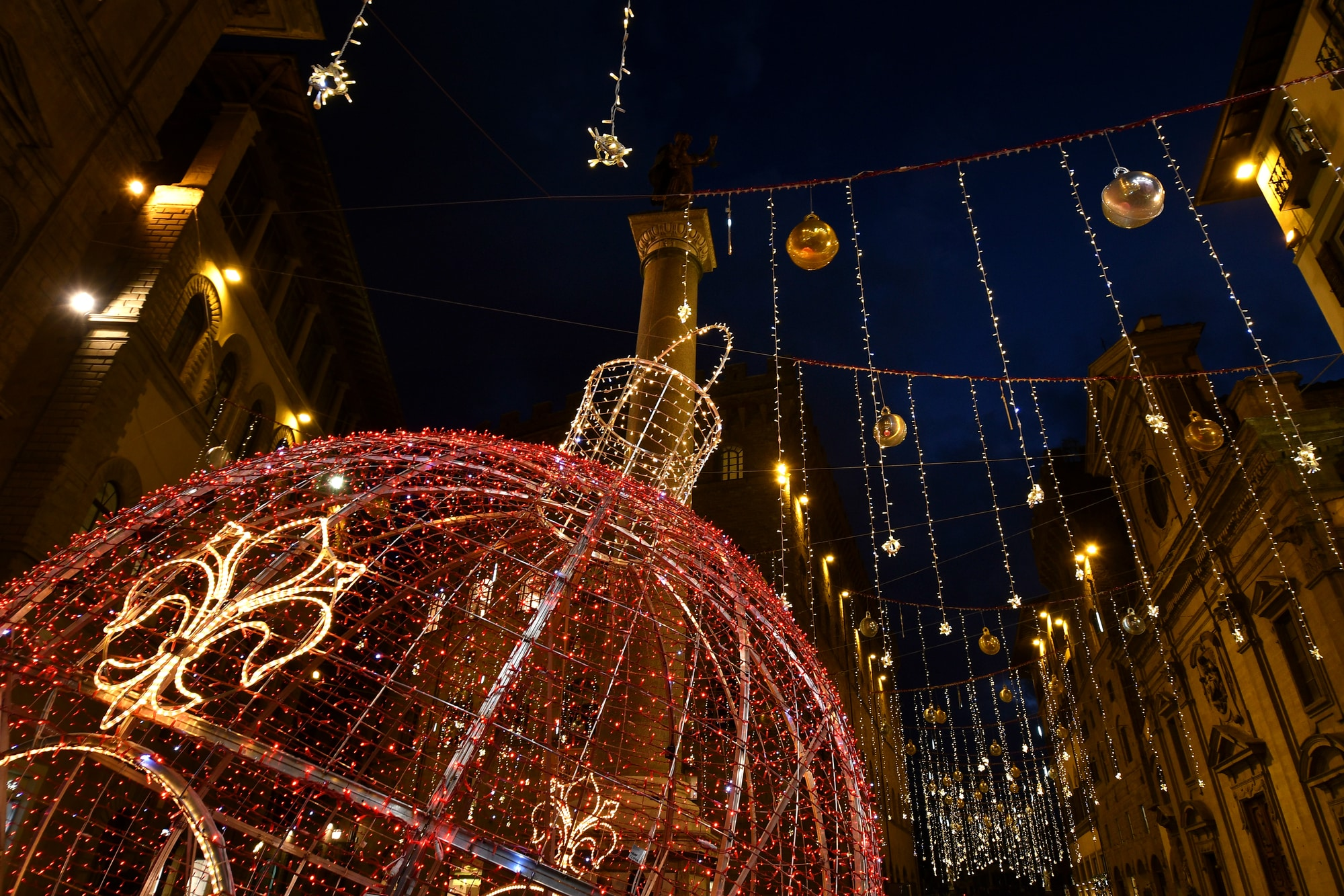 Christmas lights decorations in Santa Trinita Square in Florence Italy