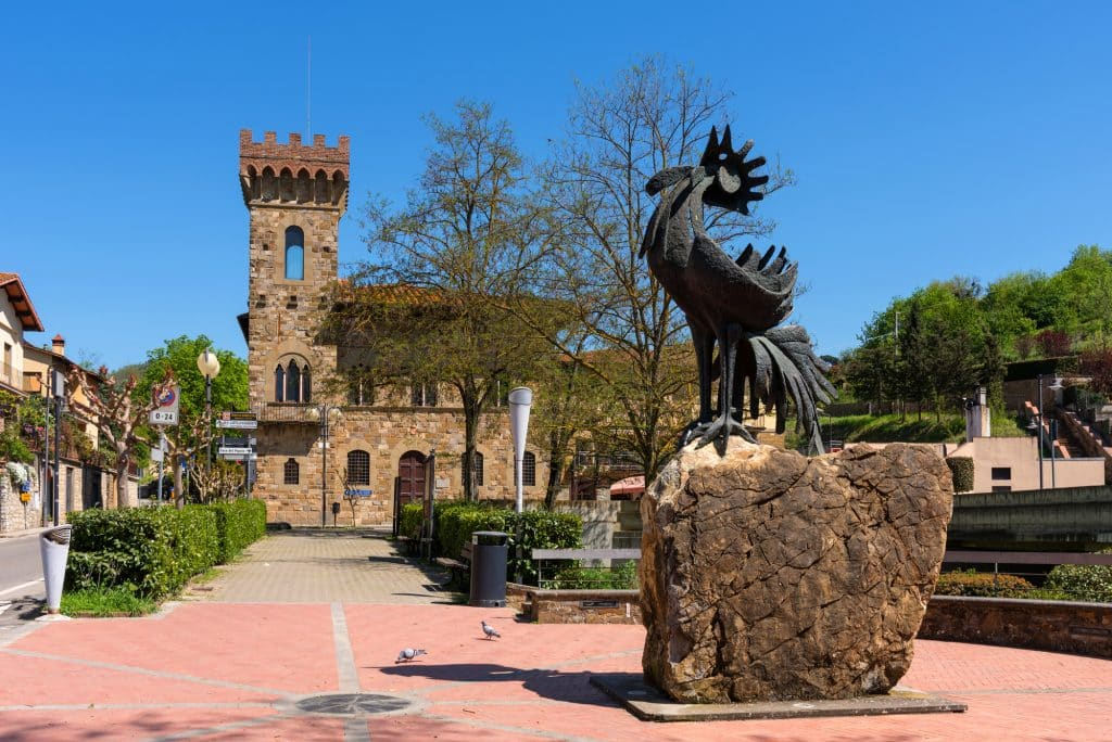 Greve in Chianti, Italy - April 21, 2018: The statue of a black rooster, the symbol of Chianti, Tuscany, Italy.